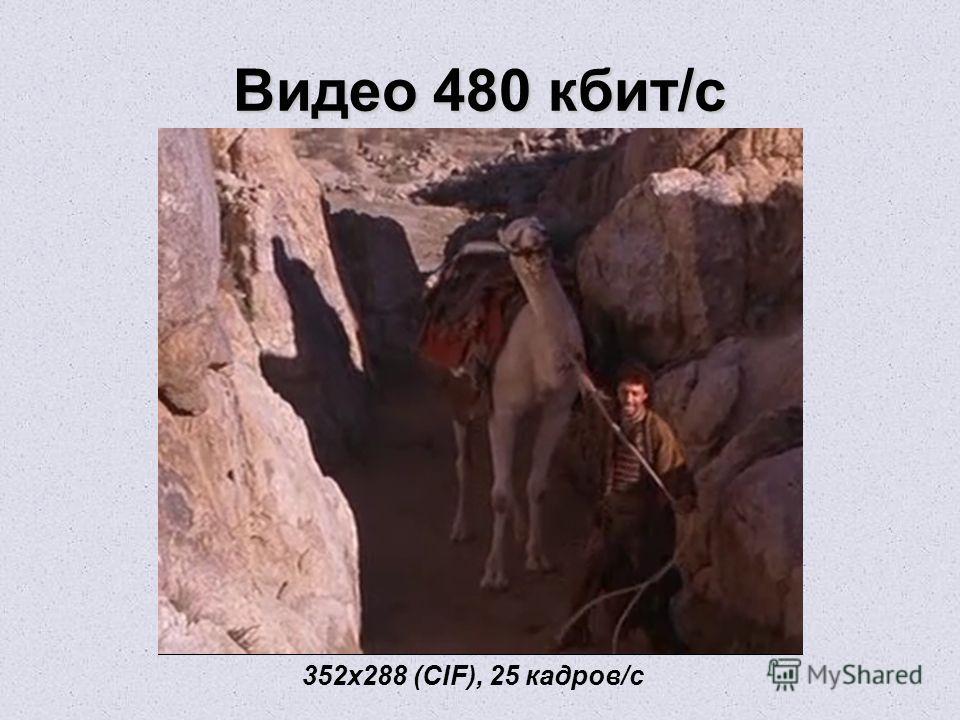 Видео 480 кбит/с 352х288 (CIF), 25 кадров/с