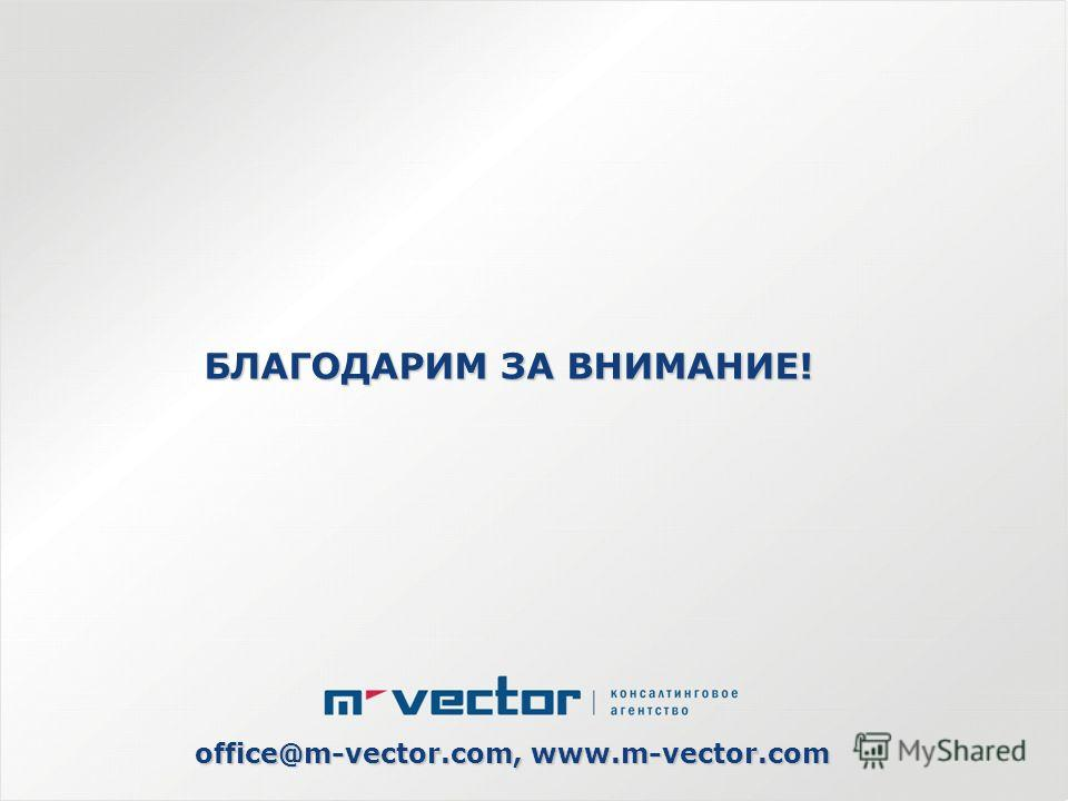БЛАГОДАРИМ ЗА ВНИМАНИЕ! office@m-vector.com, www.m-vector.com
