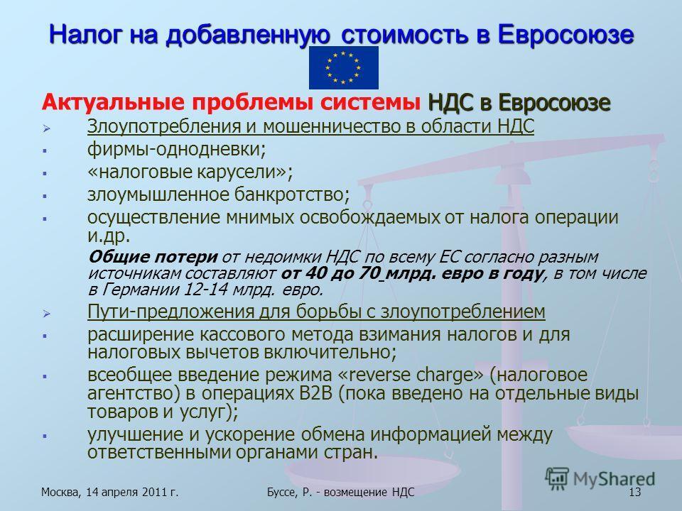 Москва, 14 апреля 2011 г.Буссе, Р. - возмещение НДС13 Налог на добавленную стоимость в Евросоюзе Актуальные проблемы системы НДС в Евросоюзе Злоупотребления и мошенничество в области НДС фирмы-однодневки; «налоговые карусели»; злоумышленное банкротст