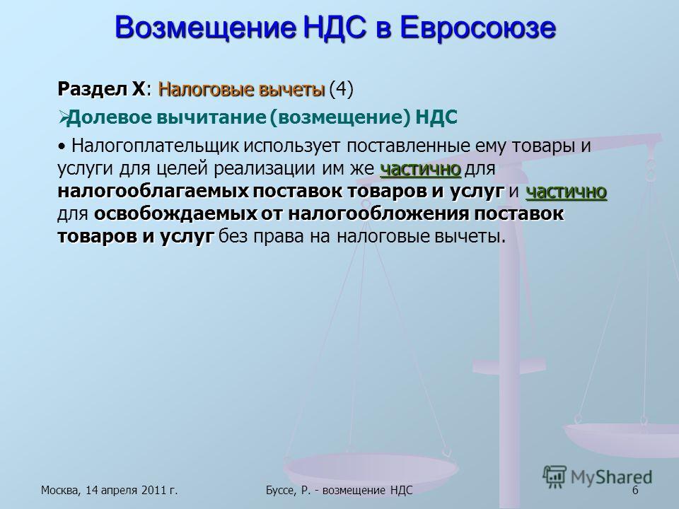 Москва, 14 апреля 2011 г.Буссе, Р. - возмещение НДС6 Возмещение НДС в Евросоюзе Раздел X: Налоговые вычеты Раздел X: Налоговые вычеты (4) Долевое вычитание (возмещение) НДС частично налогооблагаемых поставок товаров и услугчастично освобождаемых от н