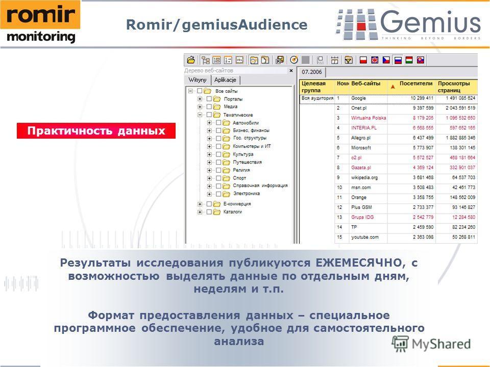 Результаты исследования публикуются ЕЖЕМЕСЯЧНО, с возможностью выделять данные по отдельным дням, неделям и т.п. Формат предоставления данных – специальное программное обеспечение, удобное для самостоятельного анализа Практичность данных Romir/gemius