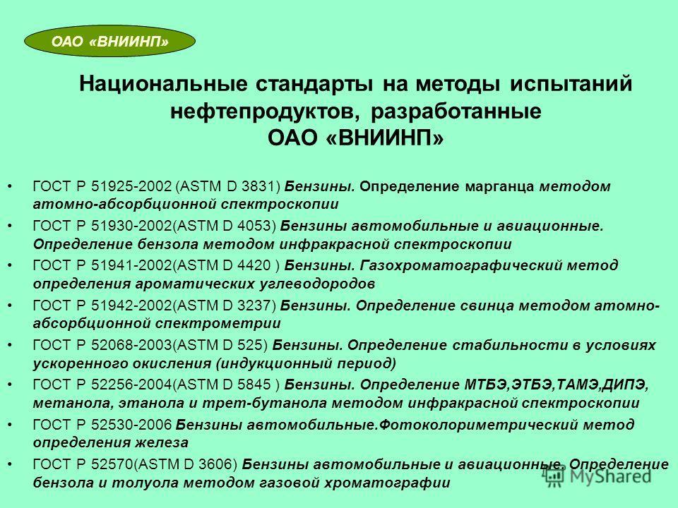 Национальные стандарты на методы испытаний нефтепродуктов, разработанные ОАО «ВНИИНП» ГОСТ Р 51925-2002 (ASTM D 3831) Бензины. Определение марганца методом атомно-абсорбционной спектроскопии ГОСТ Р 51930-2002(ASTM D 4053) Бензины автомобильные и авиа