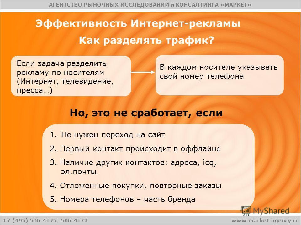 +7 (495) 506-4125, 506-4172 АГЕНТСТВО РЫНОЧНЫХ ИССЛЕДОВАНИЙ и КОНСАЛТИНГА «МАРКЕТ» www.market-agency.ru Эффективность Интернет-рекламы Как разделять трафик? Если задача разделить рекламу по носителям (Интернет, телевидение, пресса…) В каждом носителе