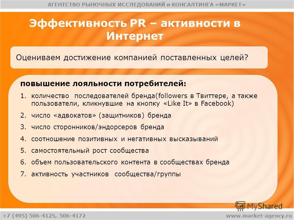 +7 (495) 506-4125, 506-4172 АГЕНТСТВО РЫНОЧНЫХ ИССЛЕДОВАНИЙ и КОНСАЛТИНГА «МАРКЕТ» www.market-agency.ru Эффективность PR – активности в Интернет Оцениваем достижение компанией поставленных целей? повышение лояльности потребителей: 1.количество послед