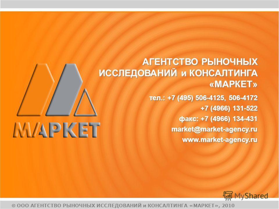 АГЕНТСТВО РЫНОЧНЫХ ИССЛЕДОВАНИЙ и КОНСАЛТИНГА «МАРКЕТ» тел.: +7 (495) 506-4125, 506-4172 +7 (4966) 131-522 факс: +7 (4966) 134-431 market@market-agency.ru www.market-agency.ru тел.: +7 (495) 506-4125, 506-4172 +7 (4966) 131-522 факс: +7 (4966) 134-43