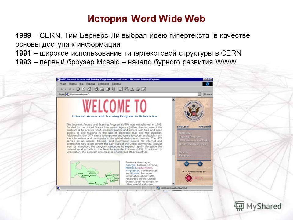 1989 – CERN, Тим Бернерс Ли выбрал идею гипертекста в качестве основы доступа к информации 1991 – широкое использование гипертекстовой структуры в CERN 1993 – первый броузер Mosaic – начало бурного развития WWW История Word Wide Web
