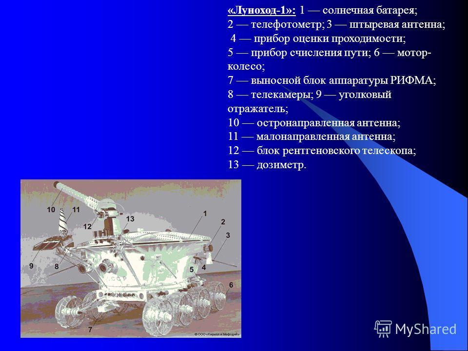 «Луноход-1»: 1 солнечная батарея; 2 телефотометр; 3 штыревая антенна; 4 прибор оценки проходимости; 5 прибор счисления пути; 6 мотор- колесо; 7 выносной блок аппаратуры РИФМА; 8 телекамеры; 9 уголковый отражатель; 10 остронаправленная антенна; 11 мал
