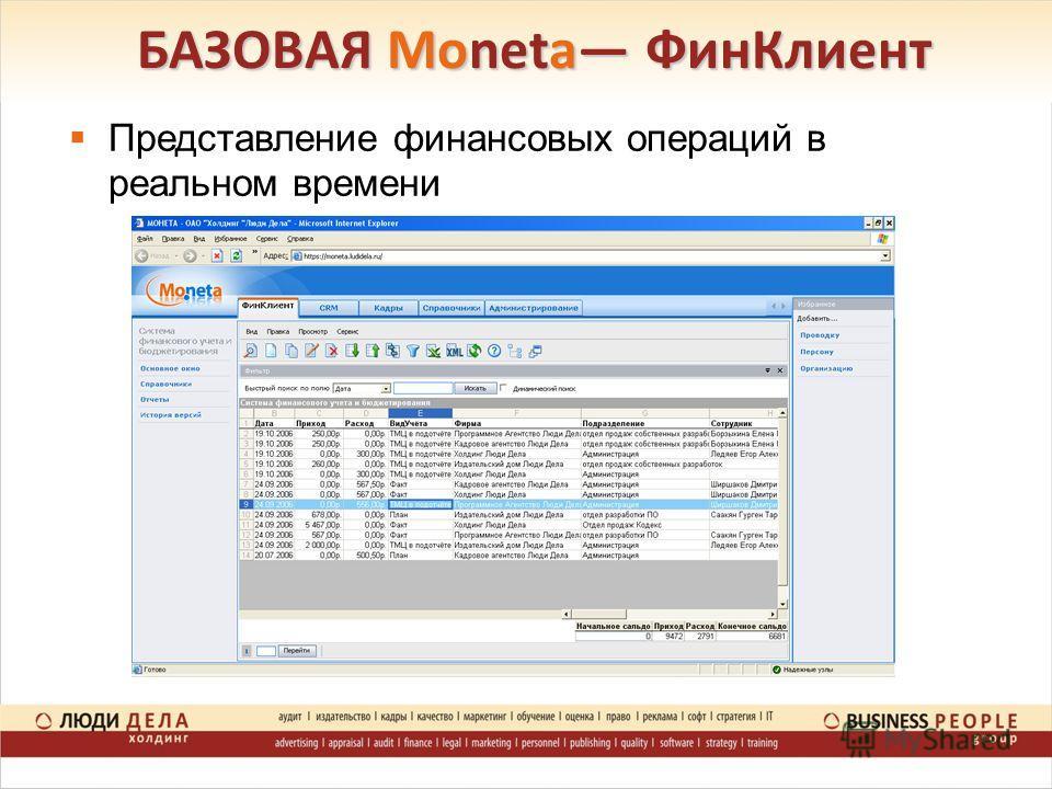 БАЗОВАЯ Moneta ФинКлиент Представление финансовых операций в реальном времени
