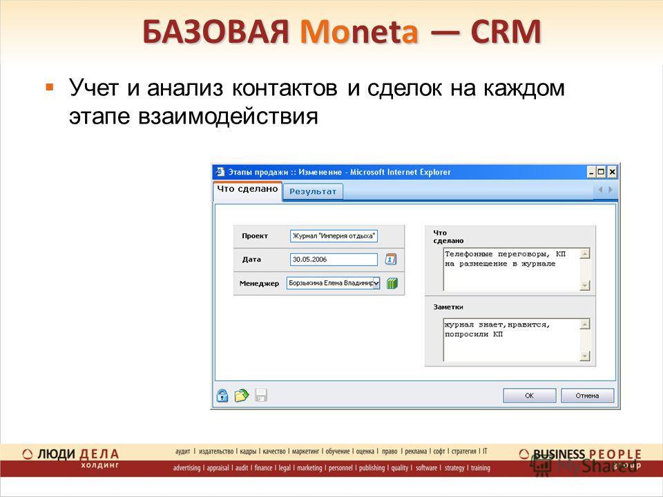 БАЗОВАЯ Moneta CRM Учет и анализ контактов и сделок на каждом этапе взаимодействия