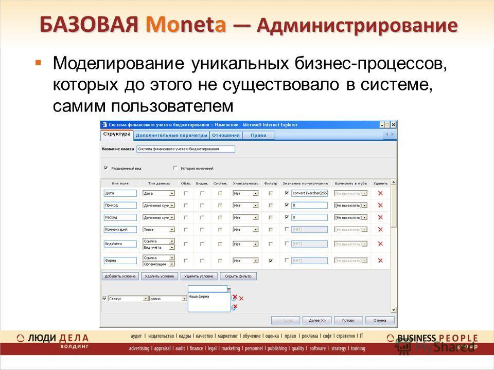 Моделирование уникальных бизнес-процессов, которых до этого не существовало в системе, самим пользователем БАЗОВАЯ Moneta Администрирование