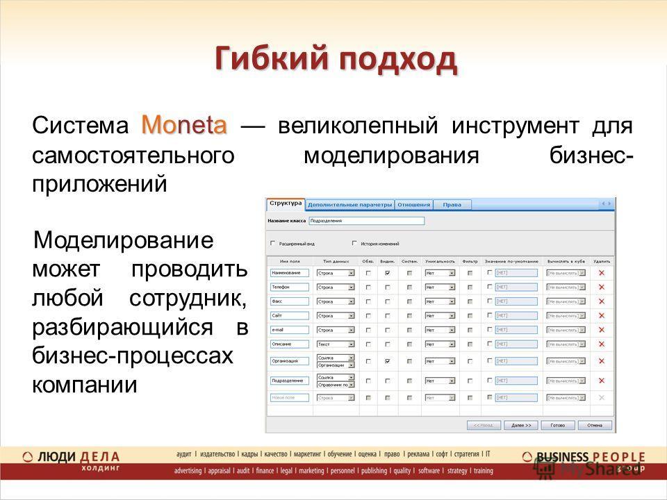 Гибкий подход Moneta Система Moneta великолепный инструмент для самостоятельного моделирования бизнес- приложений Моделирование может проводить любой сотрудник, разбирающийся в бизнес-процессах компании