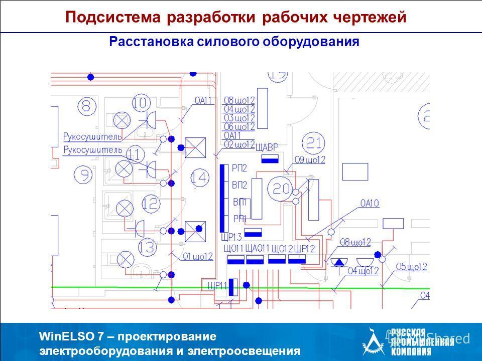 WinELSO 7 – проектирование электрооборудования и электроосвещения Расстановка силового оборудования Подсистема разработки рабочих чертежей