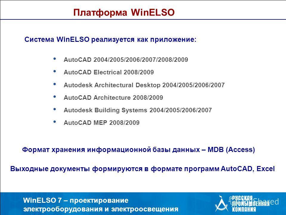 WinELSO 7 – проектирование электрооборудования и электроосвещения Платформа WinELSO AutoCAD 2004/2005/2006/2007/2008/2009 AutoCAD Electrical 2008/2009 Autodesk Architectural Desktop 2004/2005/2006/2007 AutoCAD Architecture 2008/2009 Autodesk Building