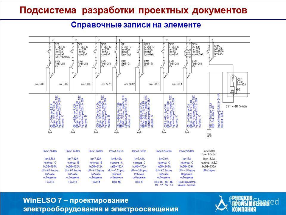 WinELSO 7 – проектирование электрооборудования и электроосвещения Подсистема разработки проектных документов Справочные записи на элементе