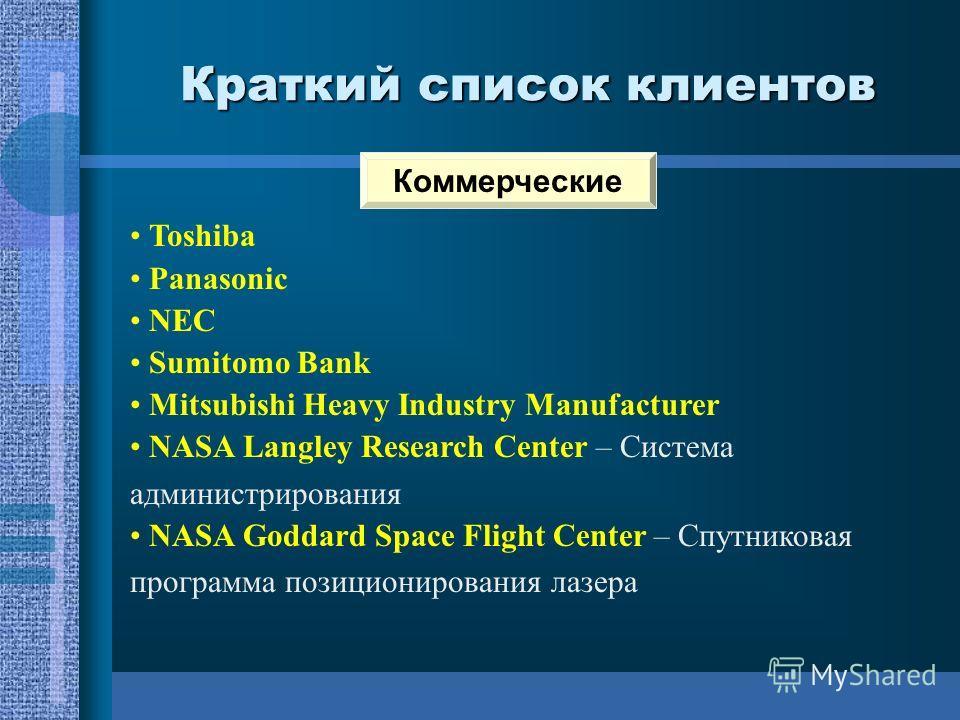 Краткий список клиентов Toshiba Panasonic NEC Sumitomo Bank Mitsubishi Heavy Industry Manufacturer NASA Langley Research Center – Система администрирования NASA Goddard Space Flight Center – Спутниковая программа позиционирования лазера Коммерческие