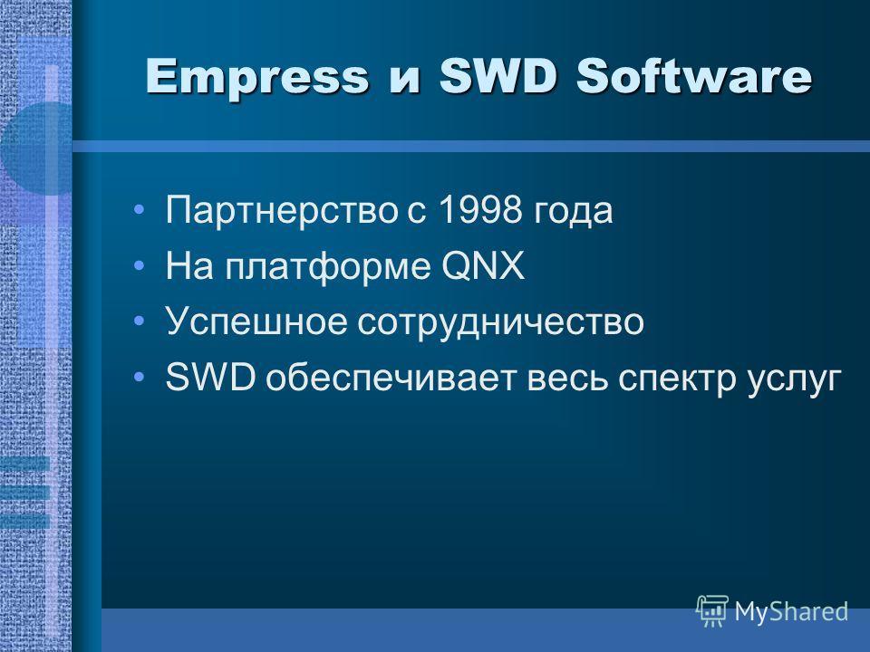 Empress и SWD Software Партнерство с 1998 года На платформе QNX Успешное сотрудничество SWD обеспечивает весь спектр услуг