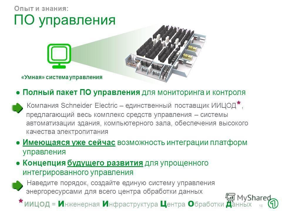 18 Полный пакет ПО управления для мониторинга и контроля Компания Schneider Electric – единственный поставщик ИИЦОД *, предлагающий весь комплекс средств управления – системы автоматизации здания, компьютерного зала, обеспечения высокого качества эле