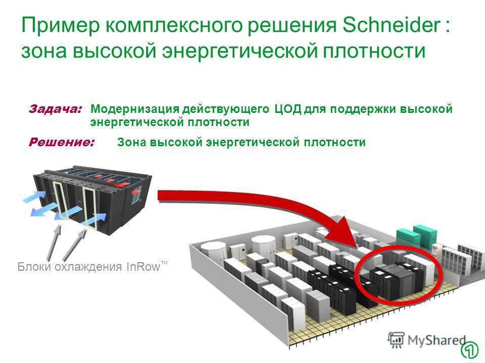 22 Пример комплексного решения Schneider : зона высокой энергетической плотности Блоки охлаждения InRow Задача: Модернизация действующего ЦОД для поддержки высокой энергетической плотности Решение: Зона высокой энергетической плотности
