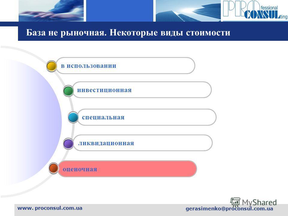 L o g o База не рыночная. Некоторые виды стоимости www. proconsul.com.ua gerasimenko@proconsul.com.ua оценочная ликвидационная специальная инвестиционная в использовании