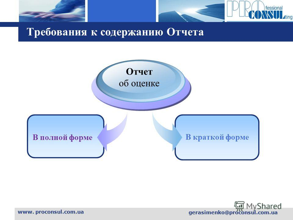 L o g o www. proconsul.com.ua gerasimenko@proconsul.com.ua Требования к содержанию Отчета В полной форме Отчет об оценке В краткой форме