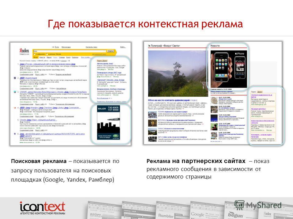 Где показывается контекстная реклама Поисковая реклама – показывается по запросу пользователя на поисковых площадках (Google, Yandex, Рамблер) Реклама на партнерских сайтах – показ рекламного сообщения в зависимости от содержимого страницы