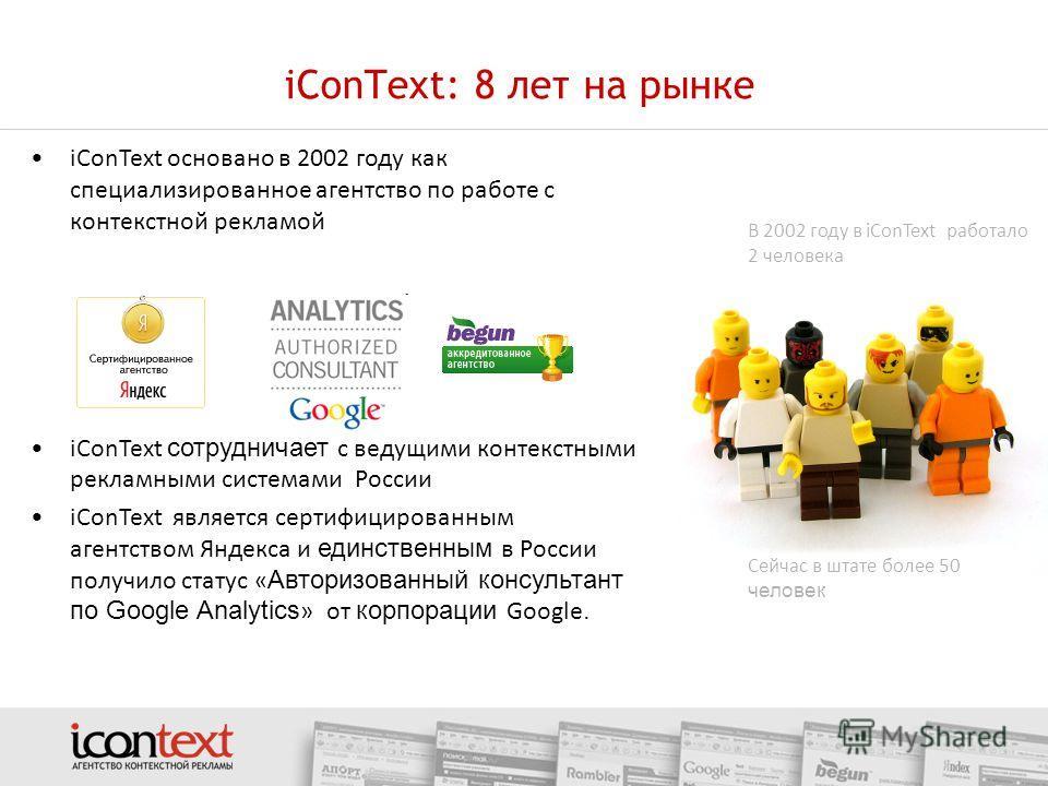 iConText: 8 лет на рынке iConText основано в 2002 году как специализированное агентство по работе с контекстной рекламой iConText сотрудничает с ведущими контекстными рекламными системами России iConText является сертифицированным агентством Яндекса