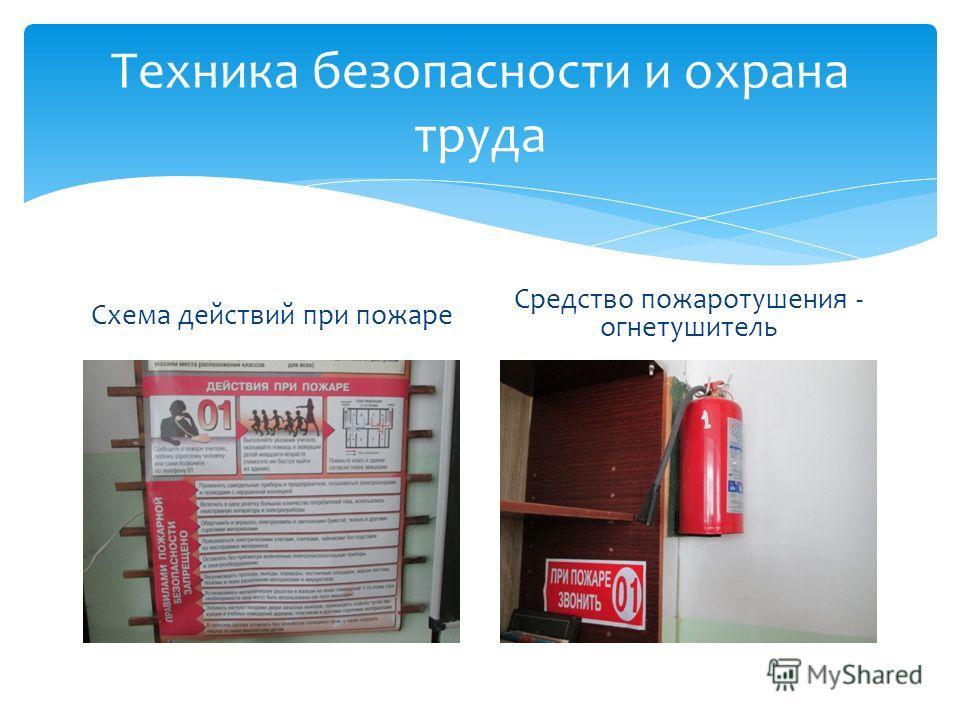 Техника безопасности и охрана труда Схема действий при пожаре Средство пожаротушения - огнетушитель