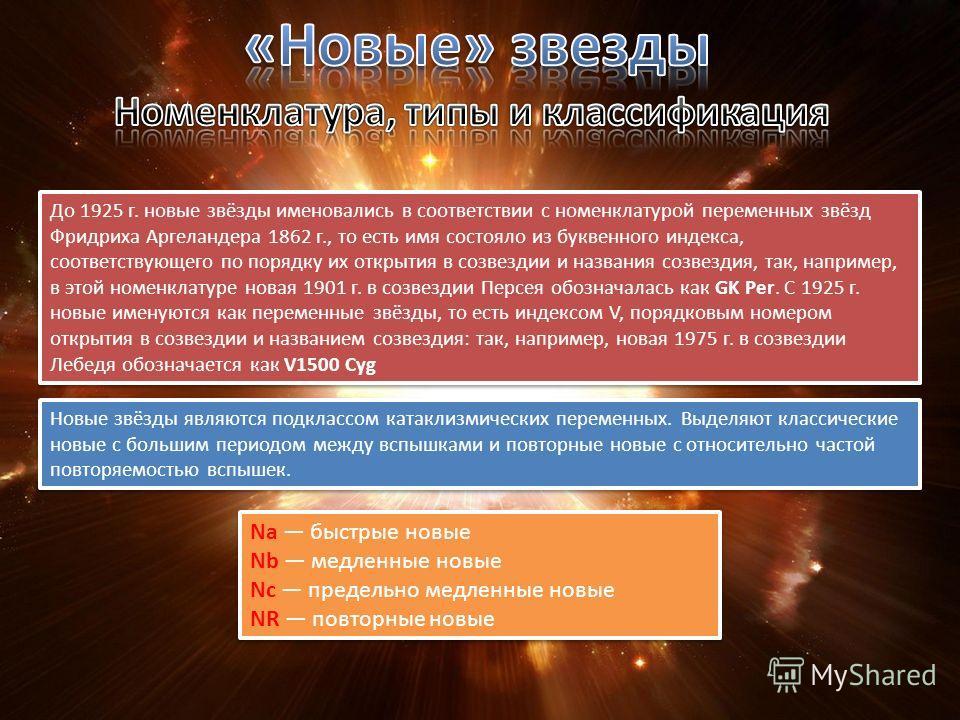 До 1925 г. новые звёзды именовались в соответствии с номенклатурой переменных звёзд Фридриха Аргеландера 1862 г., то есть имя состояло из буквенного индекса, соответствующего по порядку их открытия в созвездии и названия созвездия, так, например, в э