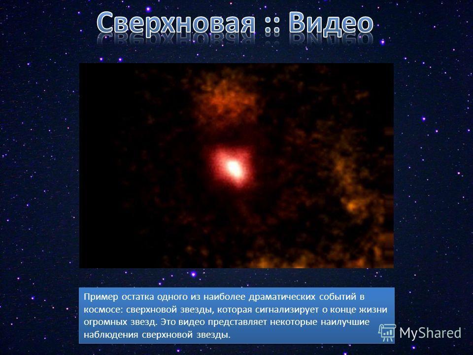 Пример остатка одного из наиболее драматических событий в космосе: сверхновой звезды, которая сигнализирует о конце жизни огромных звезд. Это видео представляет некоторые наилучшие наблюдения сверхновой звезды.