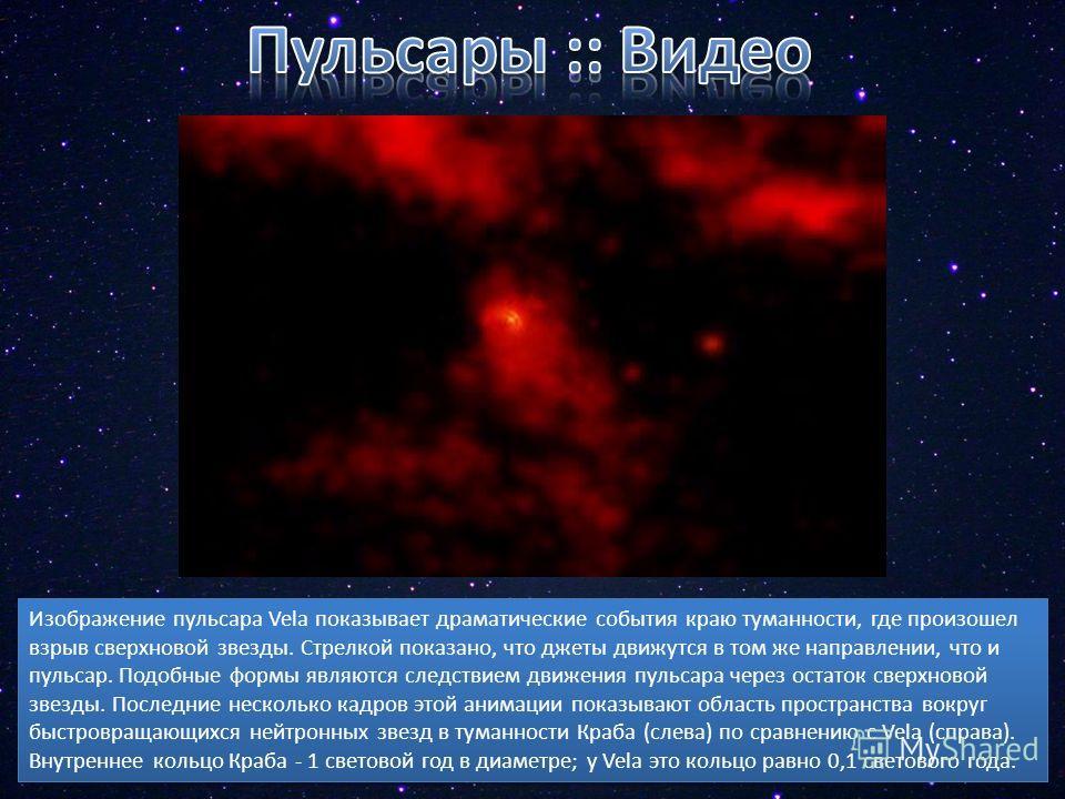 Изображение пульсара Vela показывает драматические события краю туманности, где произошел взрыв сверхновой звезды. Стрелкой показано, что джеты движутся в том же направлении, что и пульсар. Подобные формы являются следствием движения пульсара через о