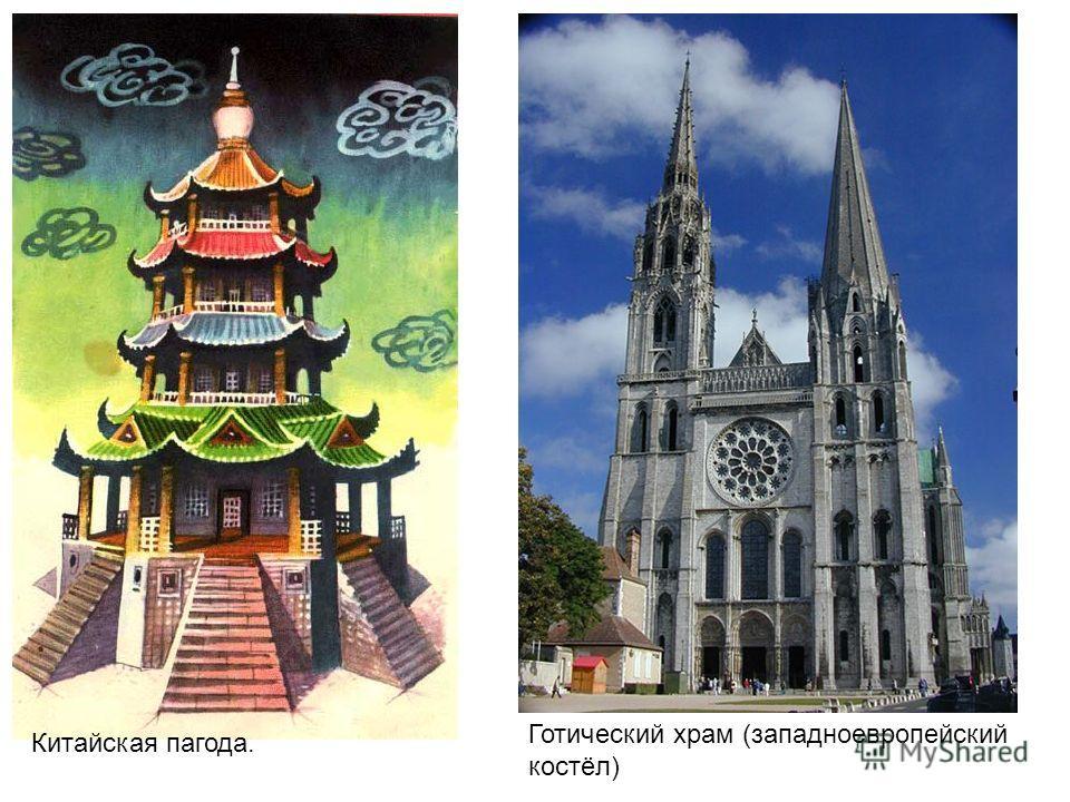 Китайская пагода. Готический храм (западноевропейский костёл)