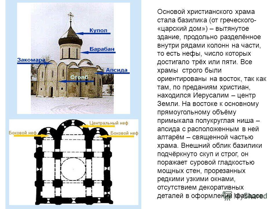 Основой христианского храма стала базилика (от греческого- «царский дом») – вытянутое здание, продольно разделённое внутри рядами колонн на части, то есть нефы, число которых достигало трёх или пяти. Все храмы строго были ориентированы на восток, так