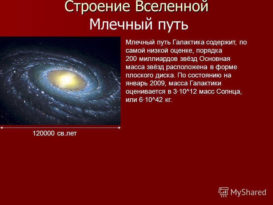 Строение Вселенной Строение Вселенной Млечный путь 120000 св.лет Млечный путь Галактика содержит, по самой низкой оценке, порядка 200 миллиардов звёзд Основная масса звёзд расположена в форме плоского диска. По состоянию на январь 2009, масса Галакти