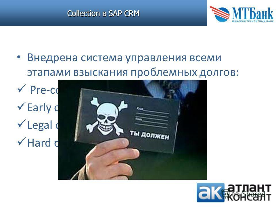 Collection в SAP CRM Внедрена система управления всеми этапами взыскания проблемных долгов: Pre-collection Early collection Legal collection Hard collection