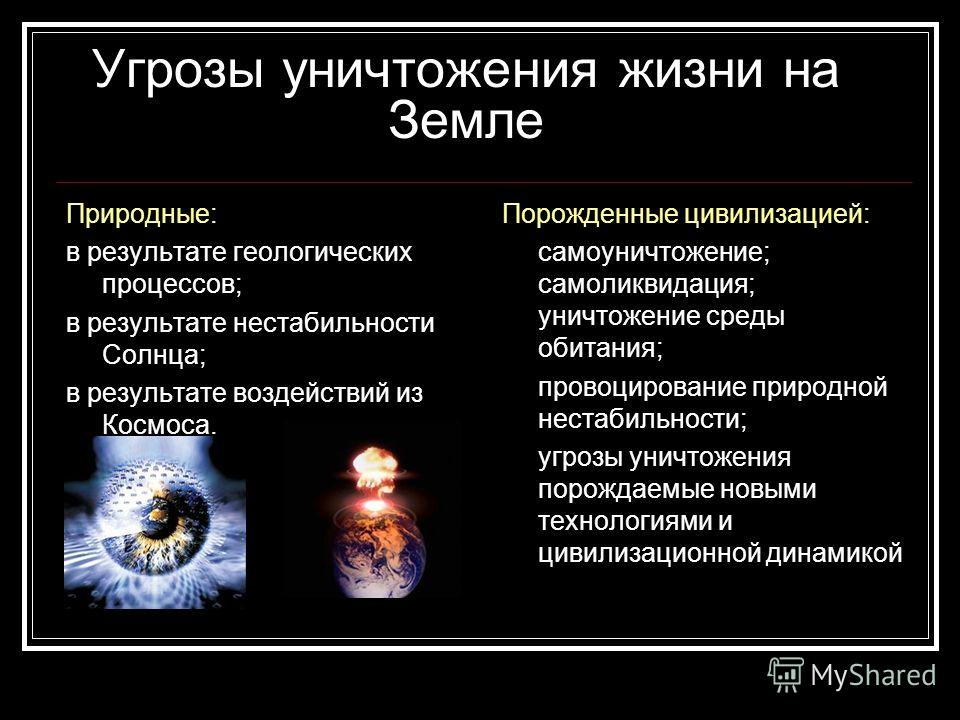 Угрозы уничтожения жизни на Земле Природные: в результате геологических процессов; в результате нестабильности Солнца; в результате воздействий из Космоса. Порожденные цивилизацией: самоуничтожение; самоликвидация; уничтожение среды обитания; провоци
