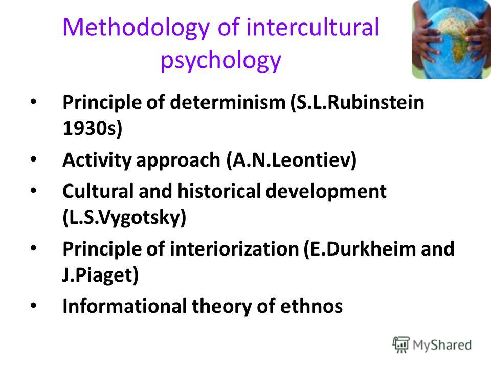 Methodology of intercultural psychology Principle of determinism (S.L.Rubinstein 1930s) Activity approach (A.N.Leontiev) Cultural and historical development (L.S.Vygotsky) Principle of interiorization (E.Durkheim and J.Piaget) Informational theory of