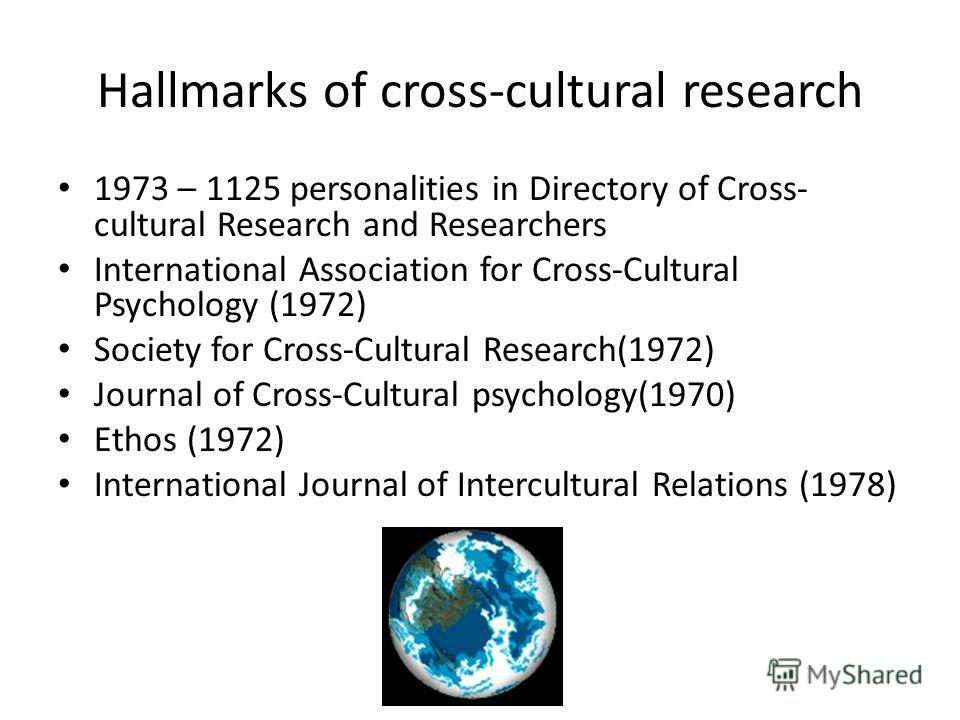 Hallmarks of cross-cultural research 1973 – 1125 personalities in Directory of Cross- cultural Research and Researchers International Association for Cross-Cultural Psychology (1972) Society for Cross-Cultural Research(1972) Journal of Cross-Cultural