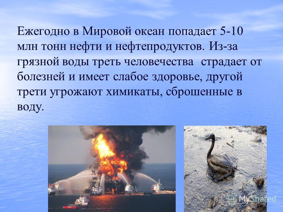 Ежегодно в Мировой океан попадает 5-10 млн тонн нефти и нефтепродуктов. Из-за грязной воды треть человечества страдает от болезней и имеет слабое здоровье, другой трети угрожают химикаты, сброшенные в воду.