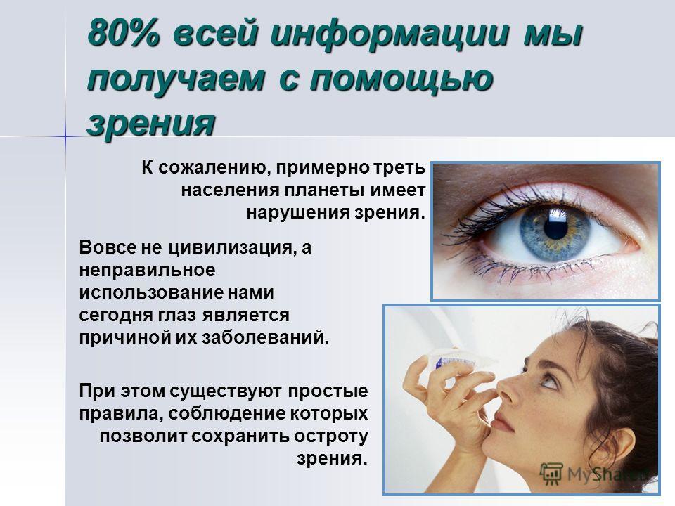 80% всей информации мы получаем с помощью зрения К сожалению, примерно треть населения планеты имеет нарушения зрения. Вовсе не цивилизация, а неправильное использование нами сегодня глаз является причиной их заболеваний. При этом существуют простые