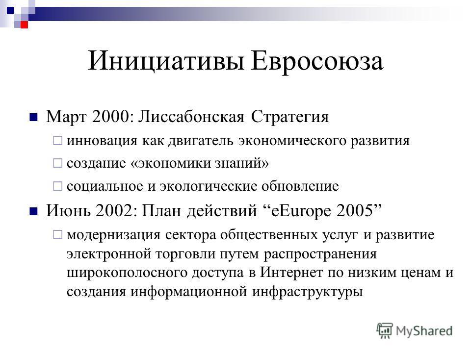 Инициативы Евросоюза Март 2000: Лиссабонская Стратегия инновация как двигатель экономического развития создание «экономики знаний» социальное и экологические обновление Июнь 2002: План действий eEurope 2005 модернизация сектора общественных услуг и р
