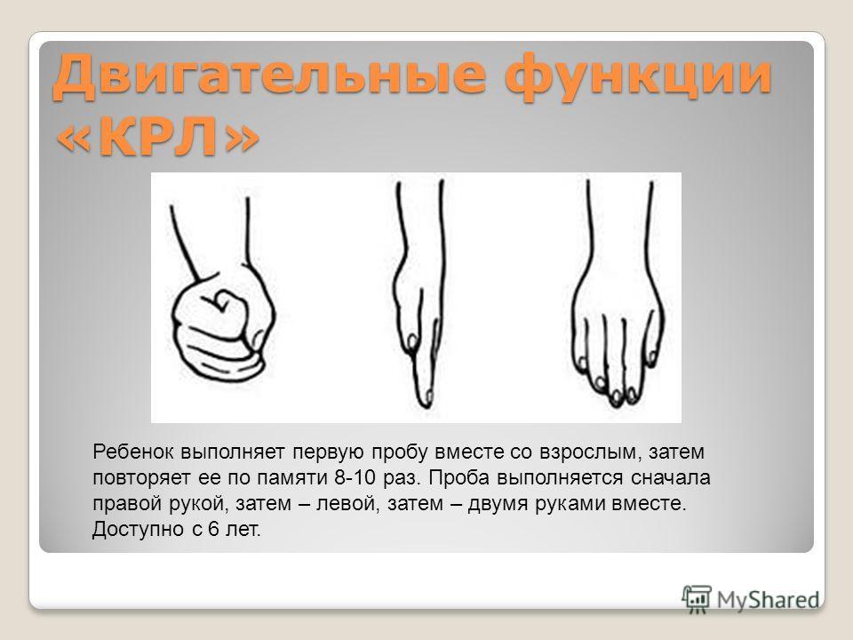 Двигательные функции «КРЛ» Ребенок выполняет первую пробу вместе со взрослым, затем повторяет ее по памяти 8-10 раз. Проба выполняется сначала правой рукой, затем – левой, затем – двумя руками вместе. Доступно с 6 лет.