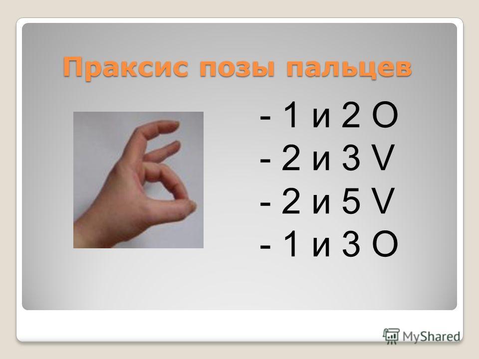 Праксис позы пальцев Праксис позы пальцев - 1 и 2 O - 2 и 3 V - 2 и 5 V - 1 и 3 О