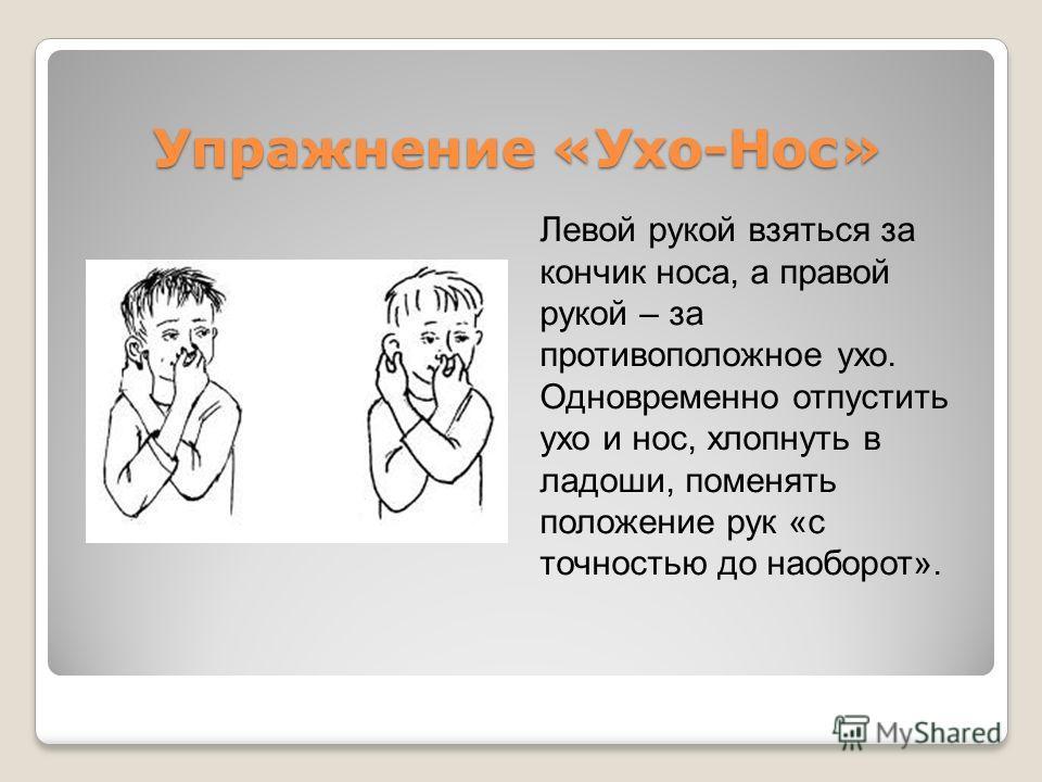 Упражнение «Ухо-Нос» Упражнение «Ухо-Нос» Левой рукой взяться за кончик носа, а правой рукой – за противоположное ухо. Одновременно отпустить ухо и нос, хлопнуть в ладоши, поменять положение рук «с точностью до наоборот». Все движения сопровождаются