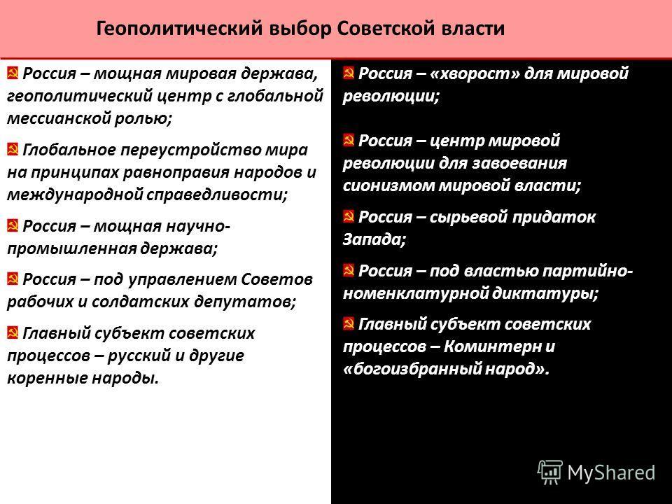 Россия – мощная мировая держава, геополитический центр с глобальной мессианской ролью; Глобальное переустройство мира на принципах равноправия народов и международной справедливости; Россия – мощная научно- промышленная держава; Россия – под управлен