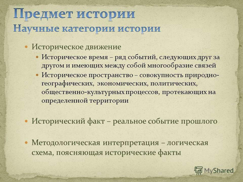 Историческое движение Историческое время – ряд событий, следующих друг за другом и имеющих между собой многообразие связей Историческое пространство – совокупность природно- географических, экономических, политических, общественно-культурных процессо