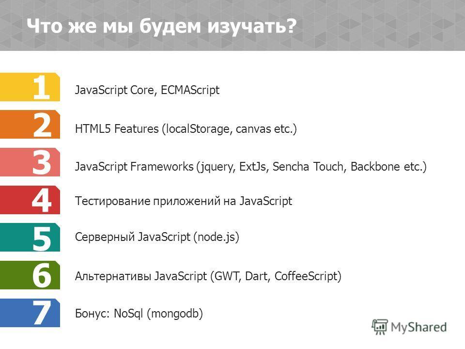 JavaScript Core, ECMAScript 1 JavaScript Frameworks (jquery, ExtJs, Sencha Touch, Backbone etc.) 3 Тестирование приложений на JavaScript 4 Серверный JavaScript (node.js) 5 Альтернативы JavaScript (GWT, Dart, CoffeeScript) 6 Бонус: NoSql (mongodb) 7 H