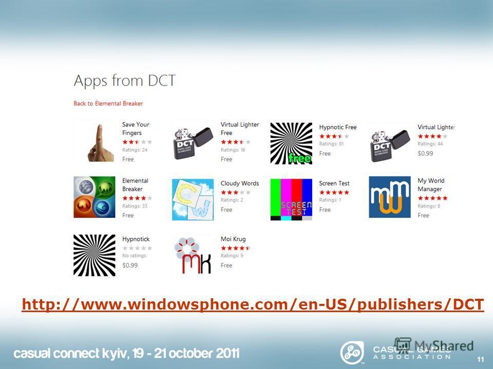 Наши приложения http://www.windowsphone.com/en-US/publishers/DCT 11