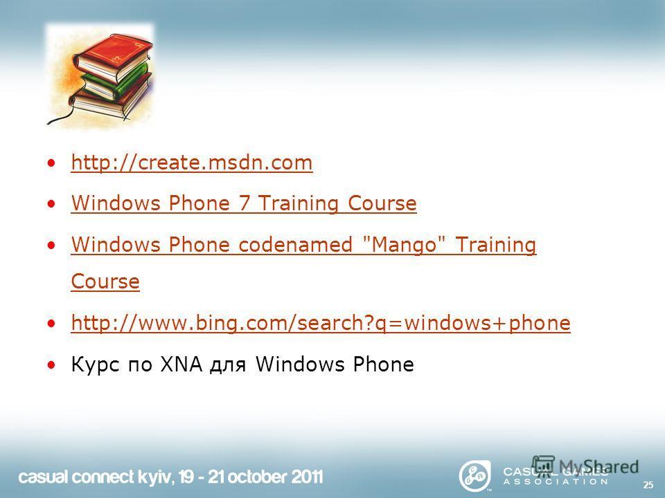 http://create.msdn.com Windows Phone 7 Training Course Windows Phone codenamed Mango Training CourseWindows Phone codenamed Mango Training Course http://www.bing.com/search?q=windows+phone Курс по XNA для Windows Phone 25