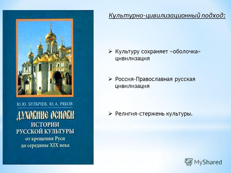 Культуру сохраняет «оболочка» цивилизация Россия-Православная русская цивилизация Религия-стержень культуры. Культурно-цивилизационный подход: