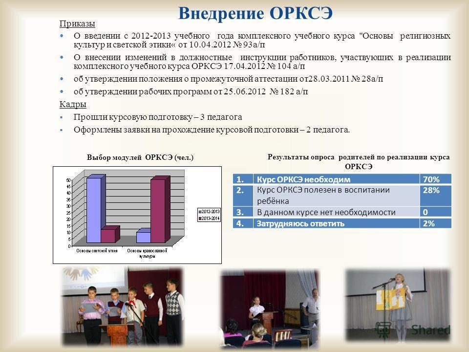Внедрение ОРКСЭ Приказы О введении с 2012-2013 учебного года комплексного учебного курса